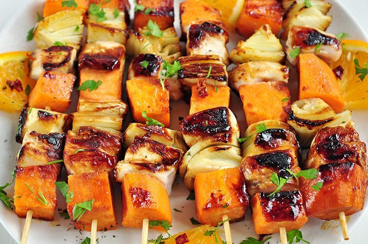 Orange Glazed Chicken And Sweet Potato Kabobs