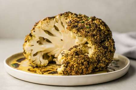 Balsamic Glazed Whole Roasted Cauliflower | Plant-Based Recipe