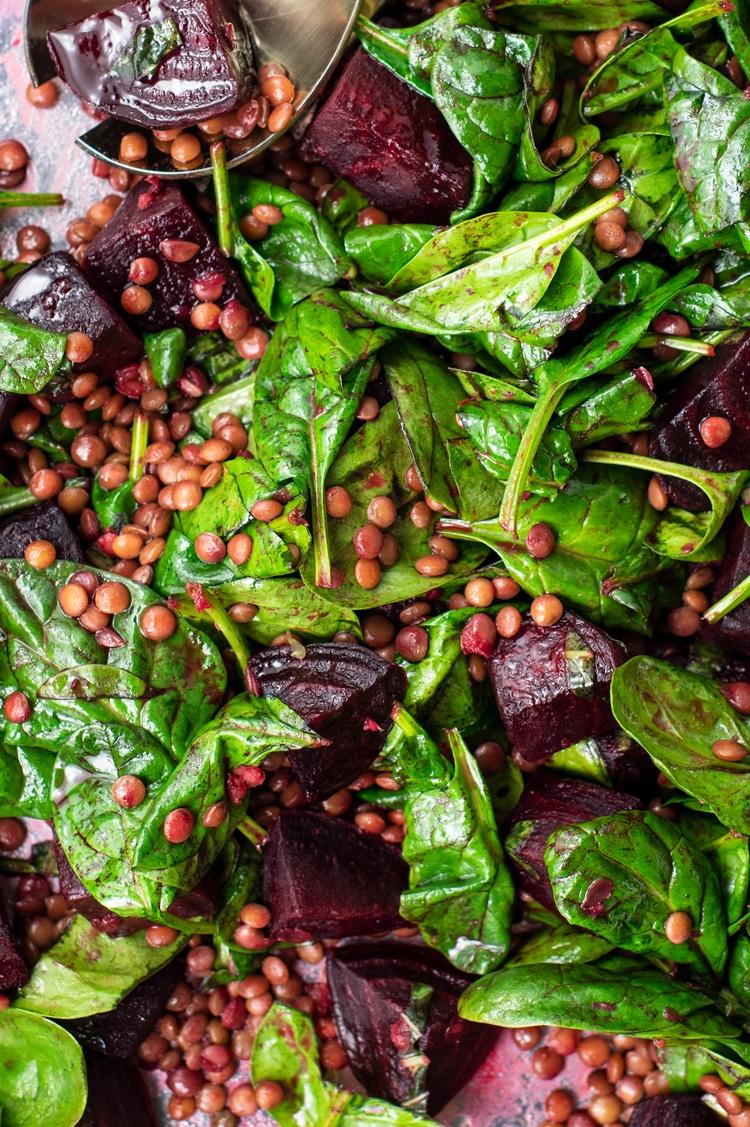 Spinach, Lentil, and Beet Salad with Orange Vinaigrette
