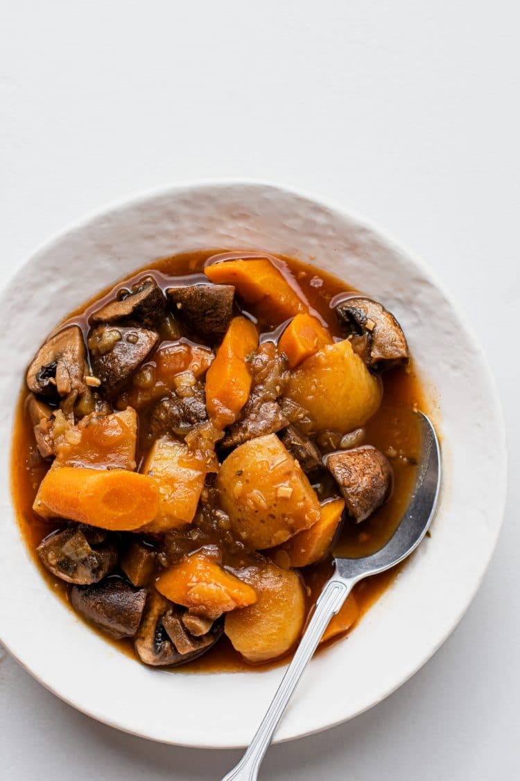 This nutritious Vgan pot roast can be served in a number of ways.