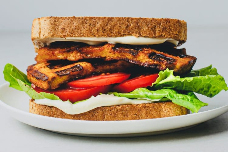 Our nutritious vegan BLT waffle iron tofu bacon sandwich makes a fantastic lunch or dinner!