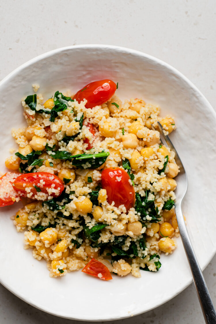 A yummy meal that is chock-ful of healthy ingredients, including one of our favorites: chickpeas!