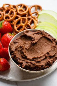Make this healthy chocolate hummus dip for a healthy snack or dessert!