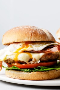 This hearty and satisfying brunch burger is made with low-fat ingredients so you can feel less guilty about it!