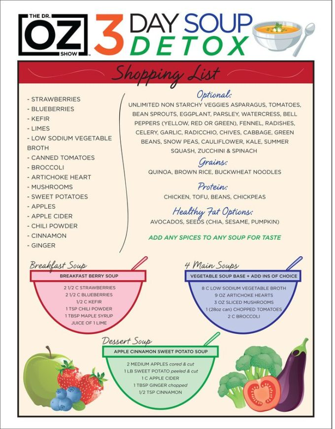 Dr. Oz Detox Soup to cleanse your system. Lose weight, lose the bloating in your belly.