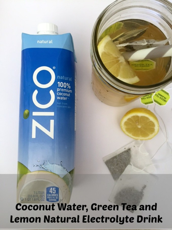 Coconut Water, Lemon, and Green Tea Homemade Electrolyte Drink. This affordable drink will help cleanse and de-bloat your system with this homemade drink. Conquer your weight loss goals by drinking this all-natural energizer.
