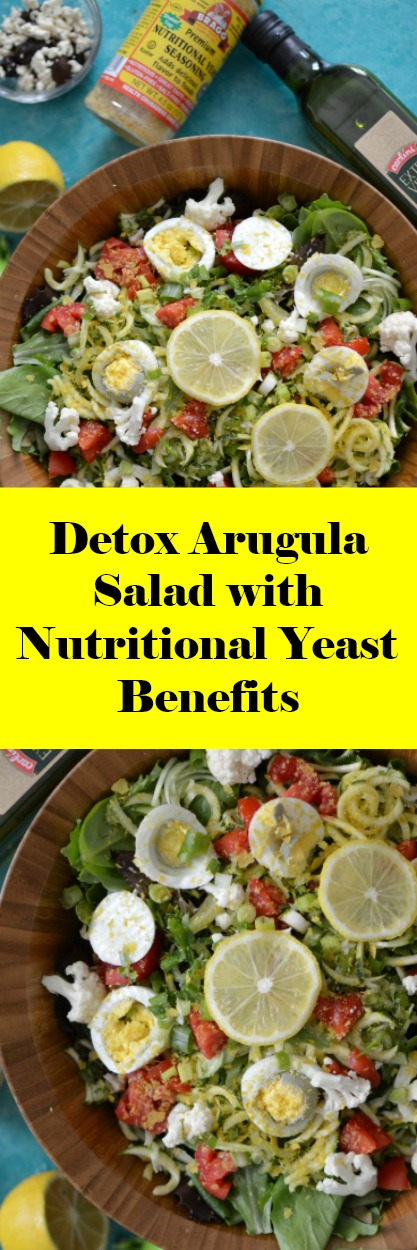 You're going to love the benefits of this Detox Arugula Salad with Nutritional Yeast Benefits. Nutritional Yeast seasoning has powerful health benefits that you can reap just simply by adding them on top of salads and in place of cheese! Once you become acquainted with making big batches of salad you will actually be surprised how easy it is to meal prep for the week.