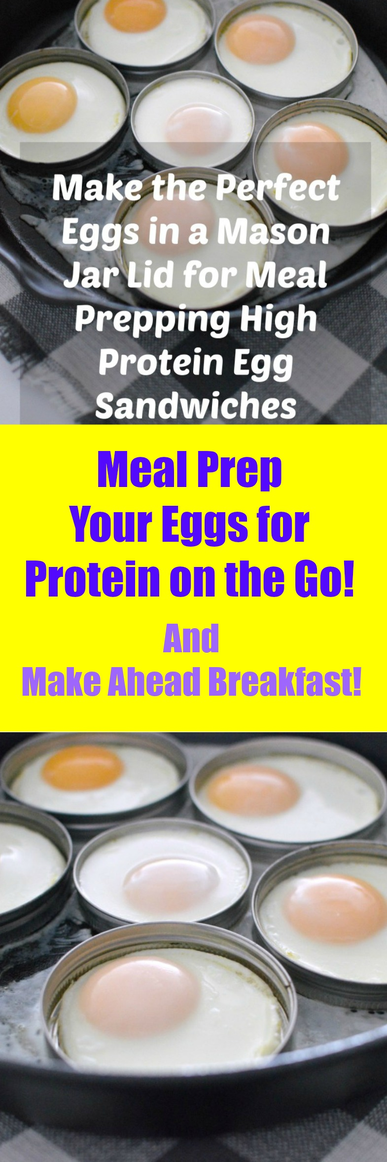 Meal Prep eggs in a mason jar lid! Kitchen Hack equals a healthy breakfast on the go. High protein equals weight loss.
