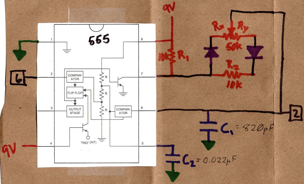 555 Timer Variable Frequency Pulse Application Schematic Circuit