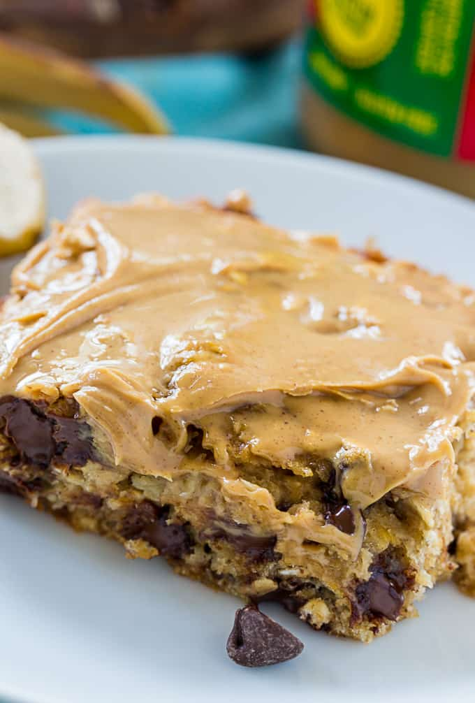 Peanut Butter and Banana Oatmeal Bars make a healthy breakfast.