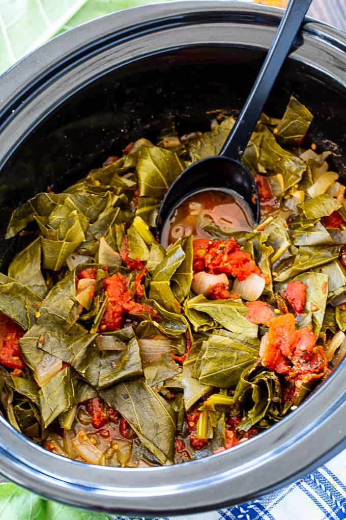 Collard Greens cooked in 6-quart crock pot