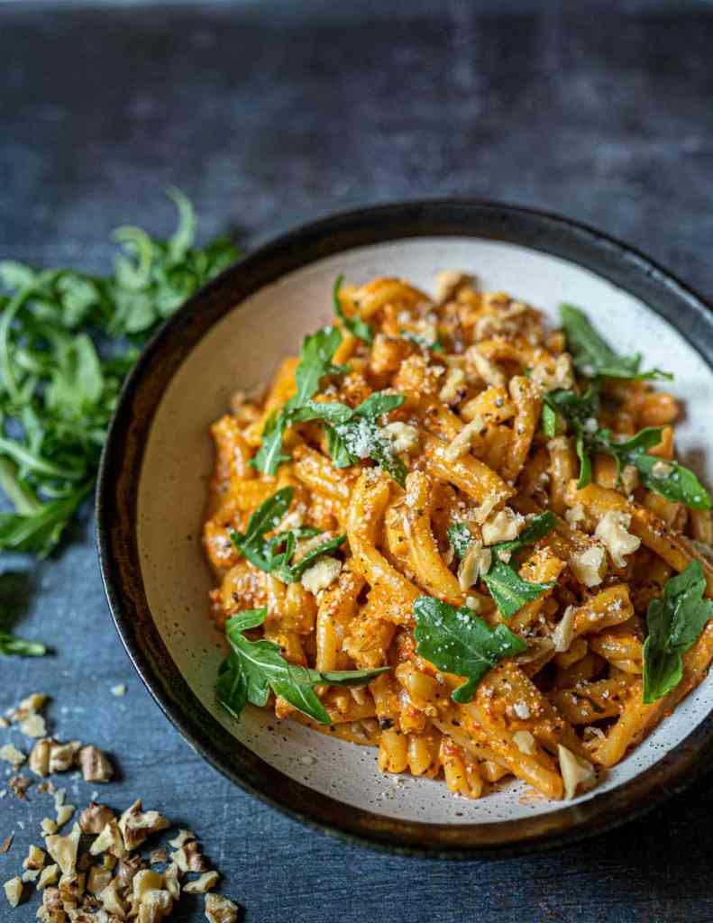 Creamy Roasted Red Pepper Pasta with Walnuts Angled