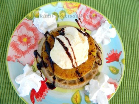 Skinny Grilled Pineapple Waffle Sundae