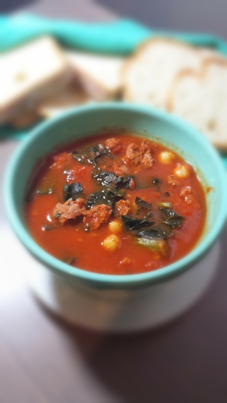 Kale, Chorizo and Chick Pea Tomato Soup