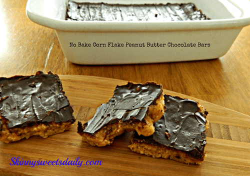 No Bake Chocolate Peanut Butter Cornflake Bars