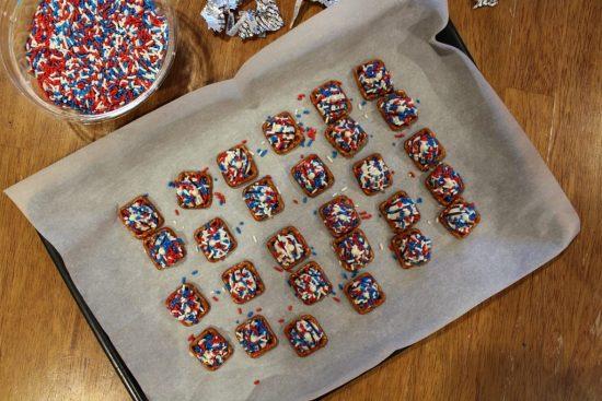 Patriotic Pretzel Snaps All Sprinkled Up