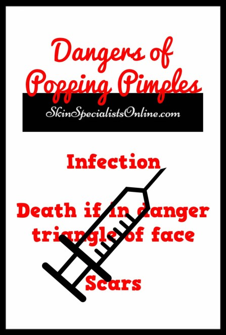Dangers of popping pimples and acne zits