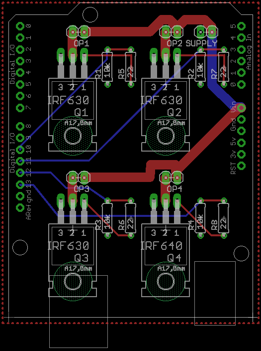 FET driver Arduino PCB layout