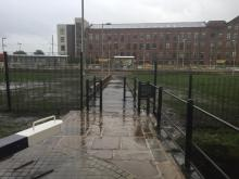View of the Path from the lock, looking towards the tram station