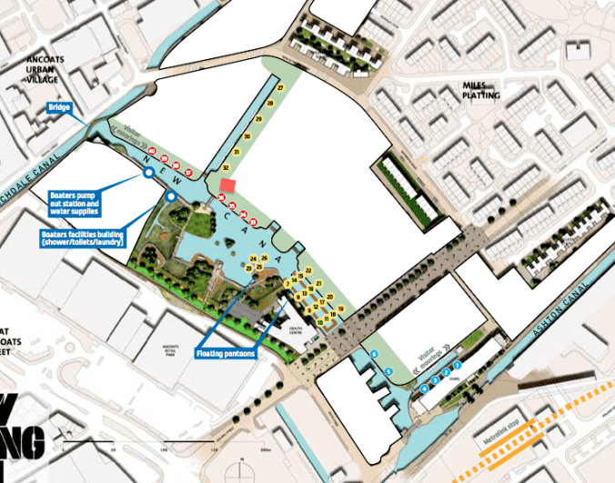 Marina General Arrangement - From Urban Splash's New Islington Brochure - Red Square shows location of the CCTV camera