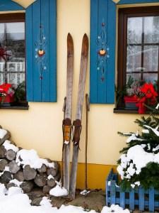 Skis outside of Apres Ski Bar