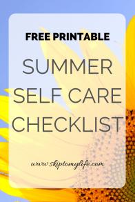 Summer Self Care Checklist: Free Printable of ideas to nurture yourself this season