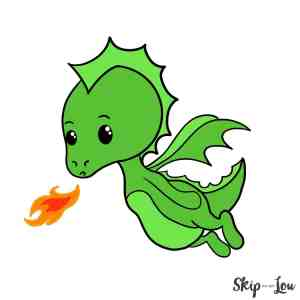 dragon draw easy drawing drawings colored step cartoon fire breathing flying basic caterpillar lou skip