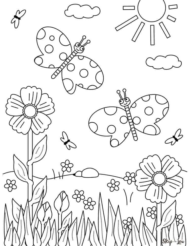 Printable Coloring Pages Of Flowers And Butterflies : printable, coloring, pages, flowers, butterflies, Flower, Coloring, Pages