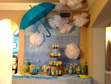 Ombre backdrop and umbrella that we suspended with fishing wire.