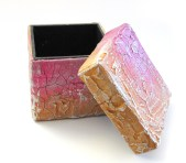 Pink/Orange Crackle Gift Box with Lid Off