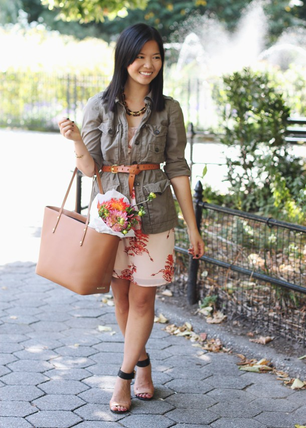 Skirt The Rules Blog; NYC fashion blogger; style blog; fall outfit photo; how to wear a summer dress for fall; Gap military utility jacket; coral floral summer dress; J.Crew cognac brown belt; Gigi Saddle Taylor Tote; Sam Edelman Sophia black and brown wedge; C. Wonder leopard calf hair skinny cuff