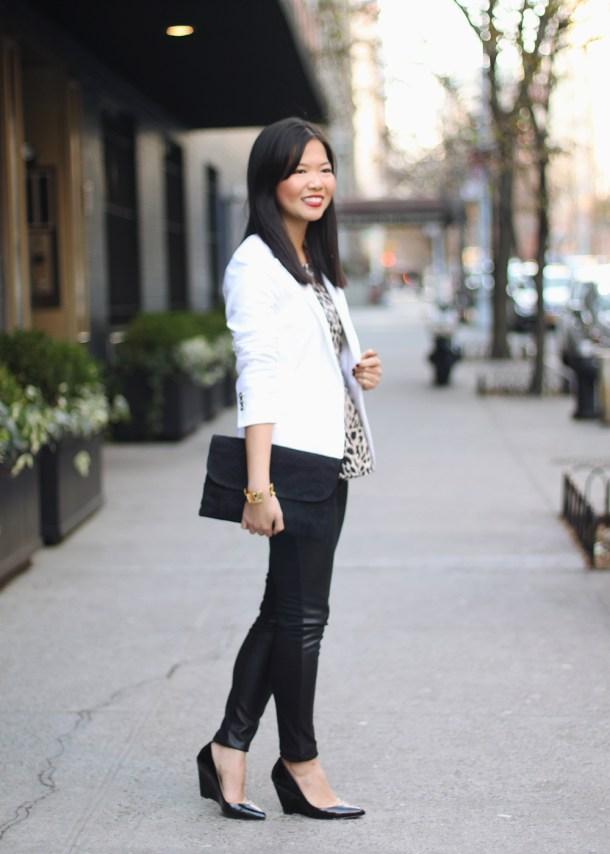 Zara White Blazer; Target Faux Leather Pants