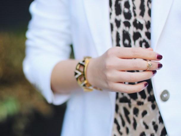 Juicy Couture bracelet; C. Wonder leopard top