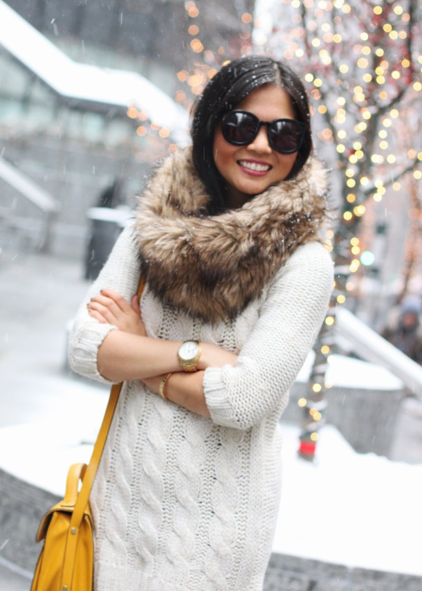 Faux Fur and Cable Knit Sweater