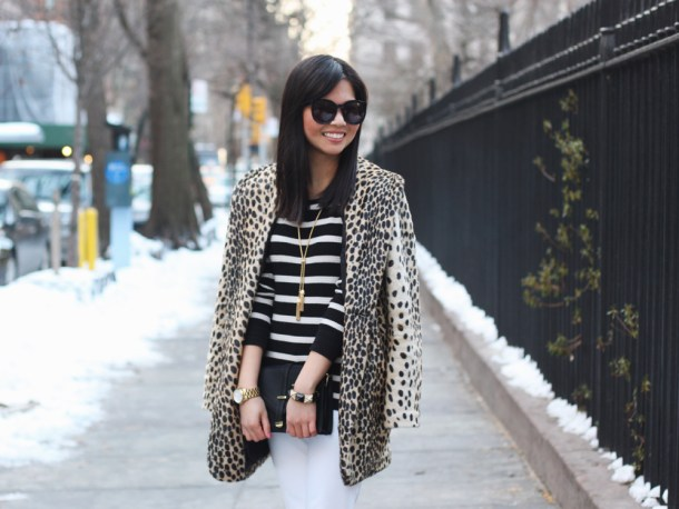 Leopard Coat & Striped Shirt