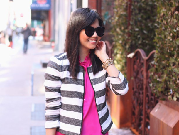 Loft Gray and White Striped Jacket