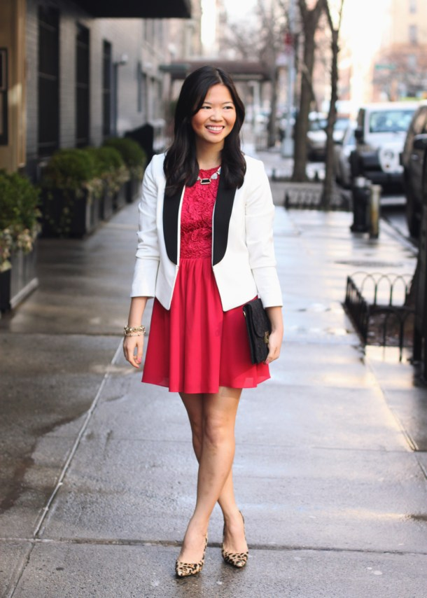 White Tuxedo Blazer & Red Dress