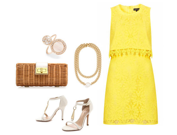 Yellow Lace Dress and Pearls