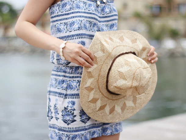 Floral Print Romper and Straw Hat