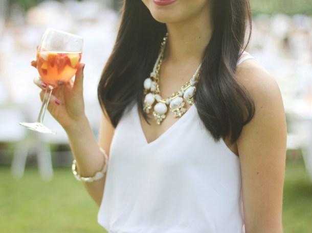 White Outfit & Rosé Sangria