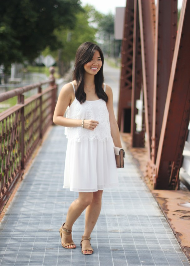 White Crochet & Chiffon Dress
