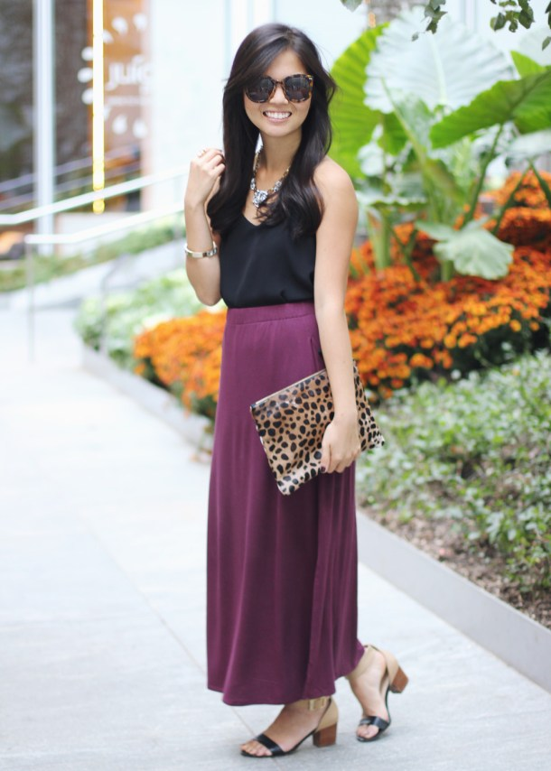 Burgundy Maxi Skirt & Leopard Clutch