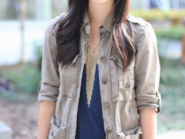 Military Jacket & Fringe Necklace