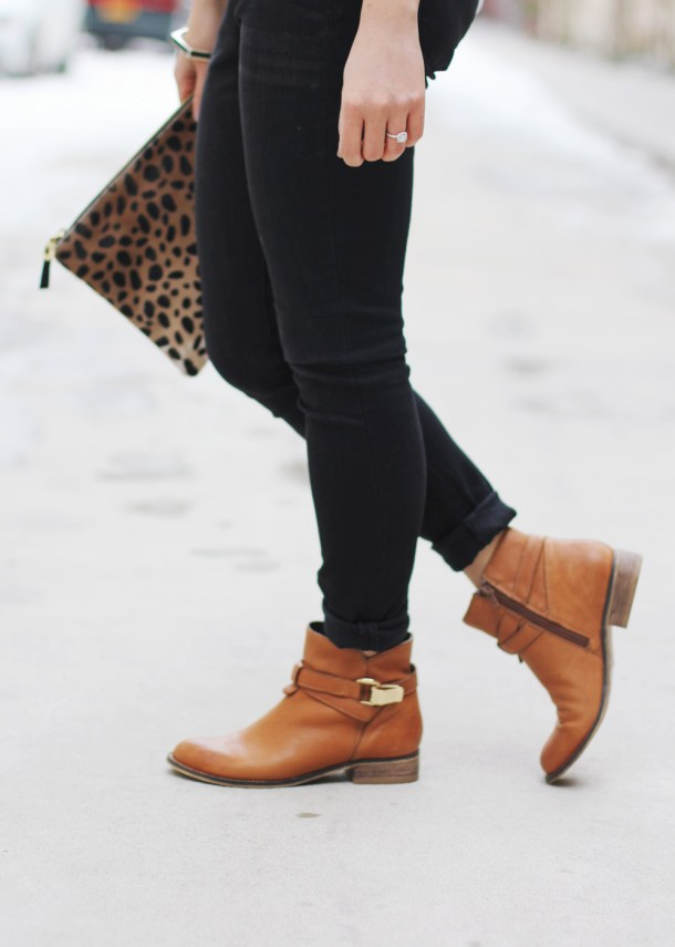 Skirt The Rules // Black Denim Leggings & Brown Boots