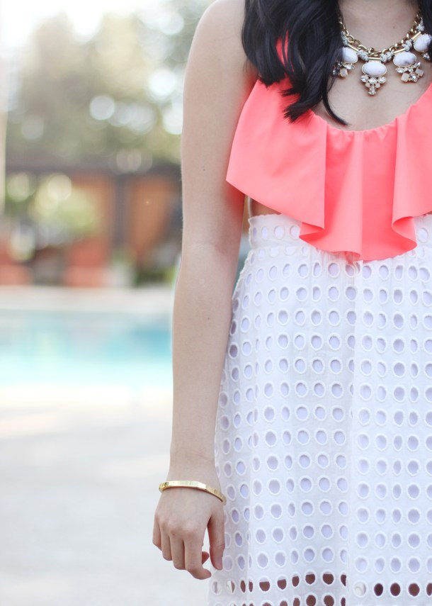 Skirt The Rules // White & Neon Orange Pool Outfit