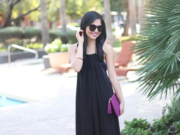 Skirt The Rules // Black Dress & Fuschia Clutch
