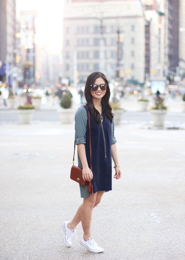 Skirt The Rules // Navy Shirt Dress with Striped Back
