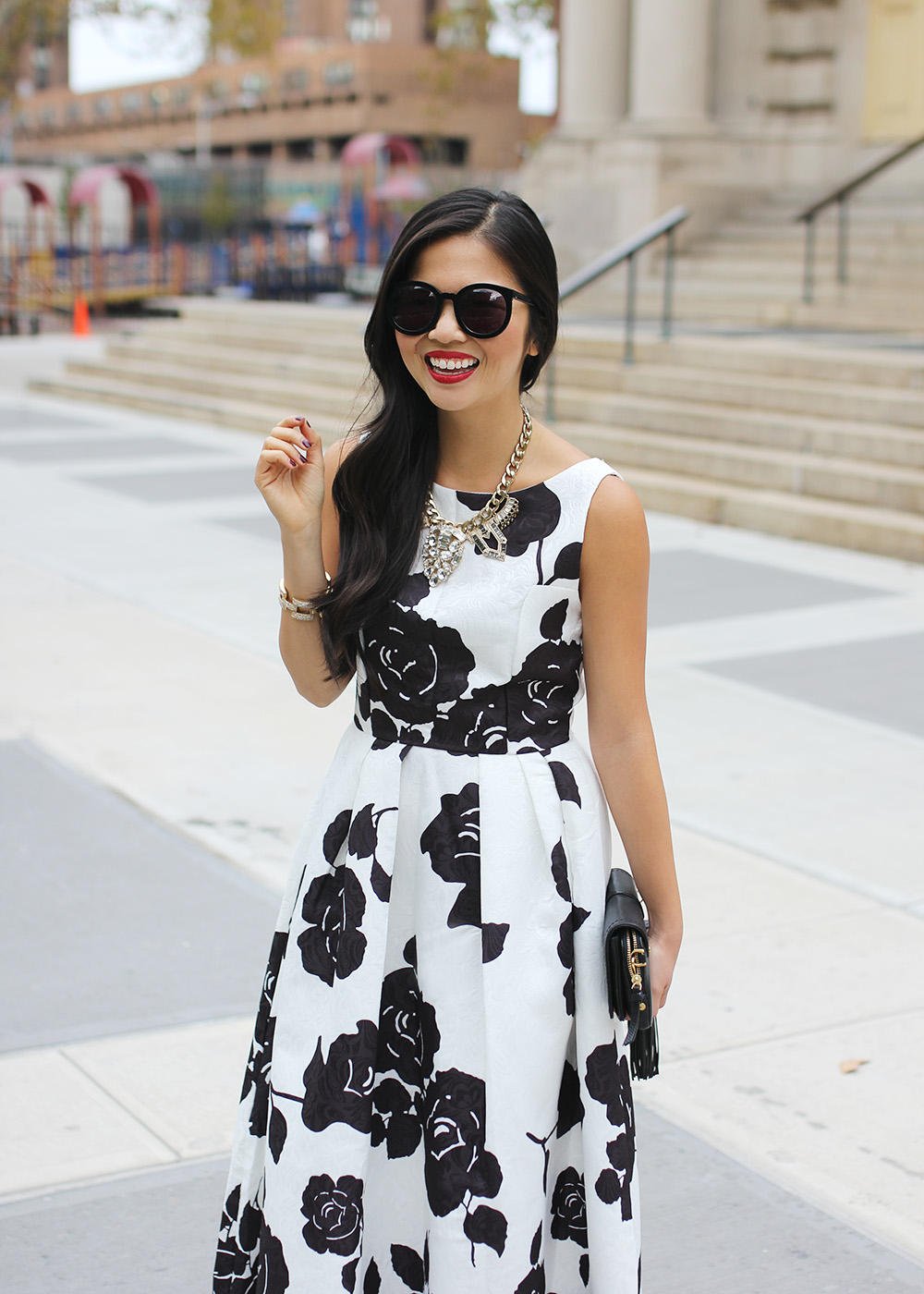 Black white floral dress skirt the rules life style in nyc skirt the rules black white floral tea length dress mightylinksfo