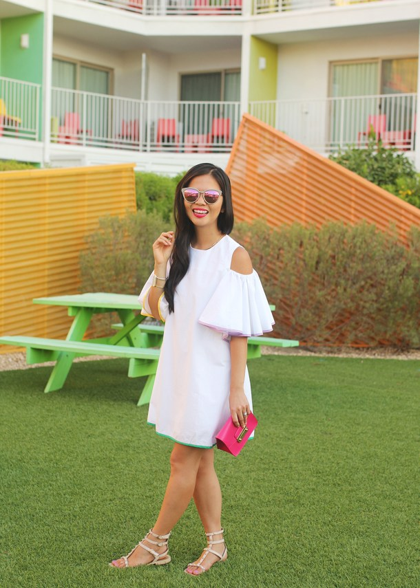 White Cold Shoulder Dress with Pop of Colors
