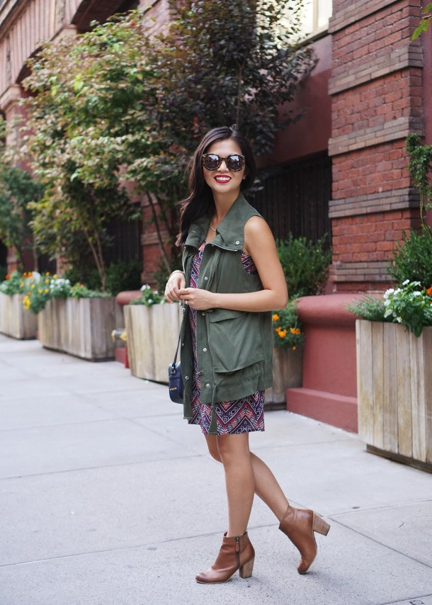 Fall Transition Style / Army Vest & Chevron Dress